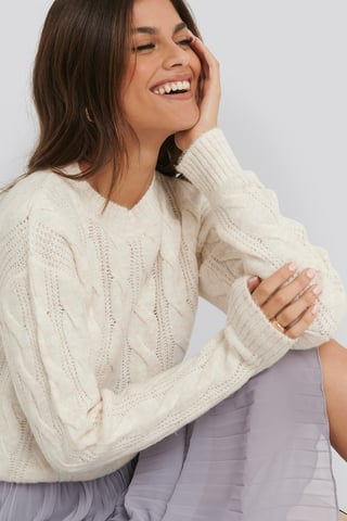 White Regular Cable Knitted Sweater