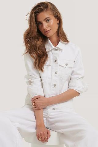 White Veste En Jean Coupe Régulière