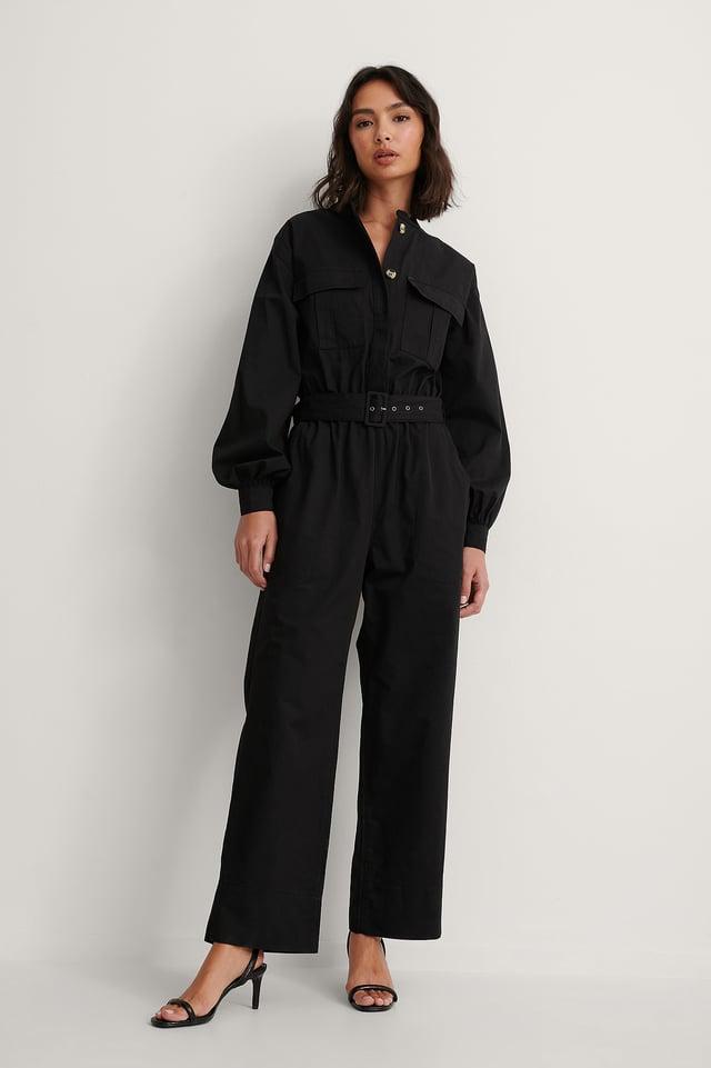 Black Biologique Combinaison Pantalon Ceinturée