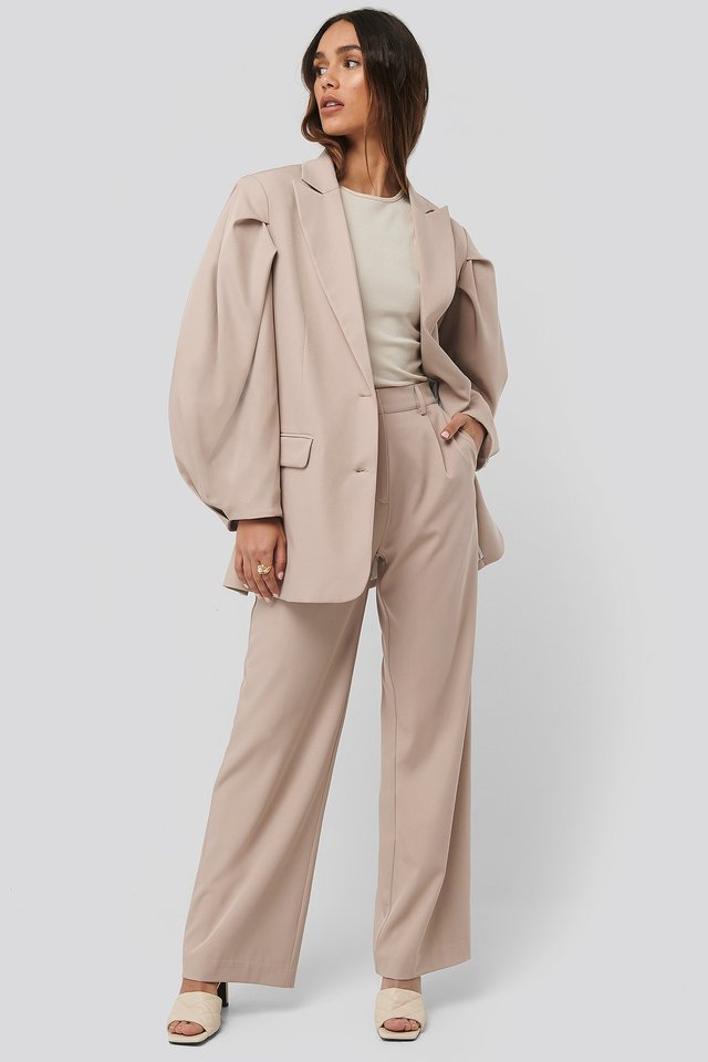 Beige Relaxed Fit Suit Pants
