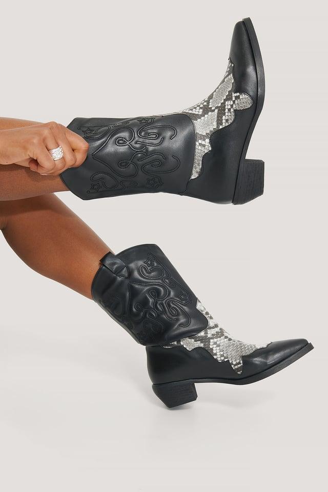 Reptile Detailed Cowboy Boots Black Snake/Black