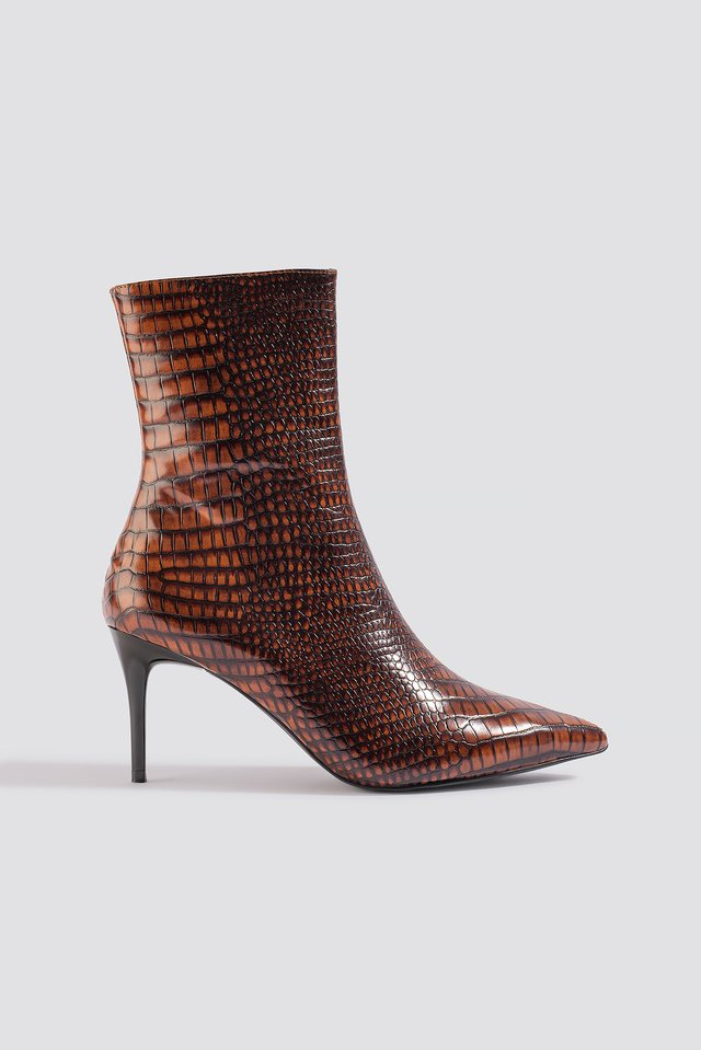 Reptile Pointy Boots Brown