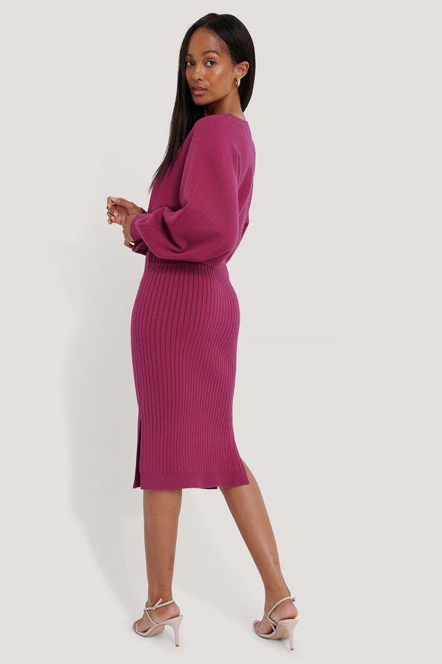 Rib Knitted Skirt Dark Rose