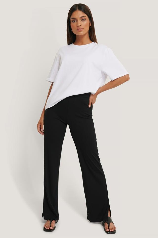 Black Pantalon Fendu Côtelé