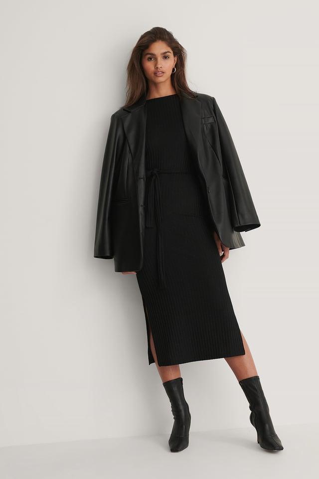 Black Recyclée Robe En Maille Côtelée