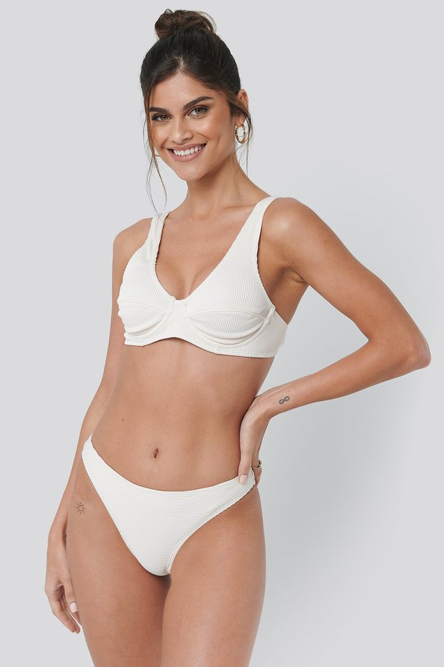 Offwhite Ribbed Bikini Panty