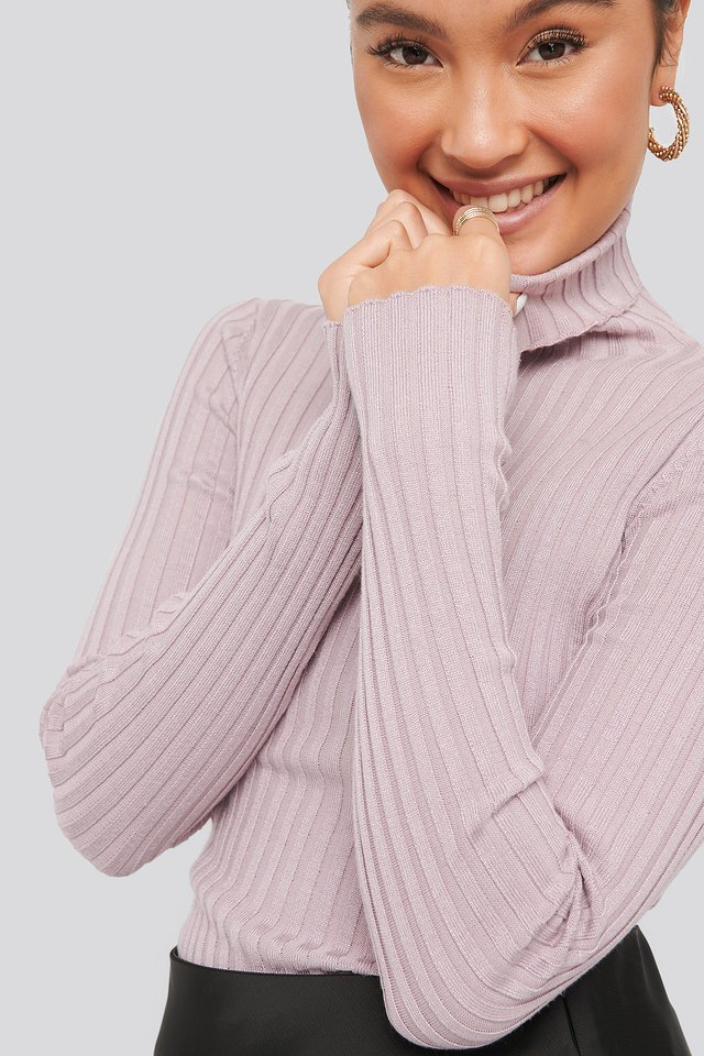 Dusty Lilac Ribbed Detail Knitted Polo Sweater