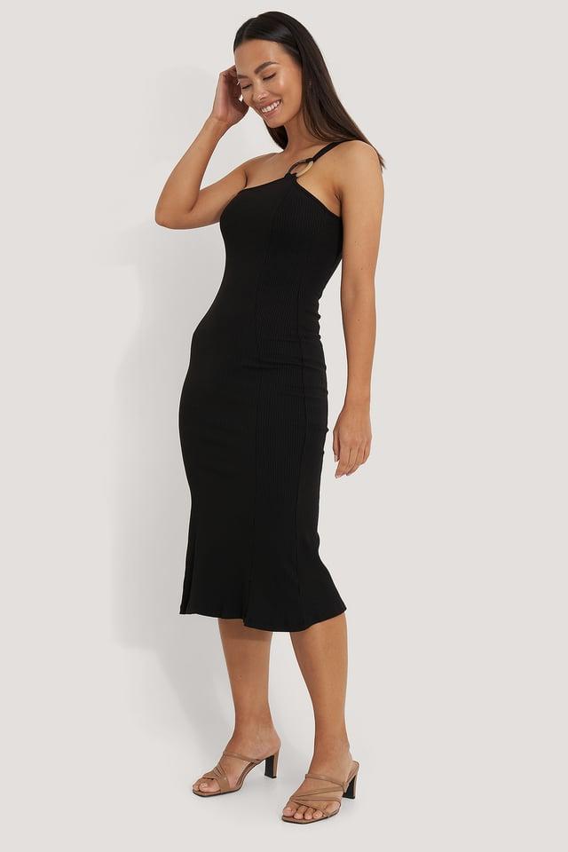 Black Ribbed One Shoulder Dress