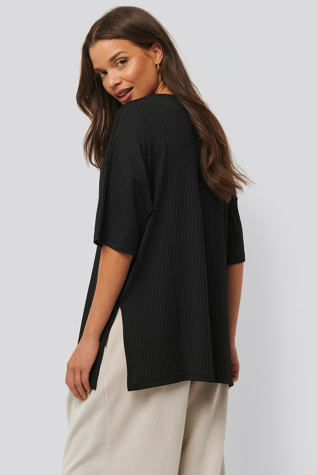 Ribbed Oversized Tee Black