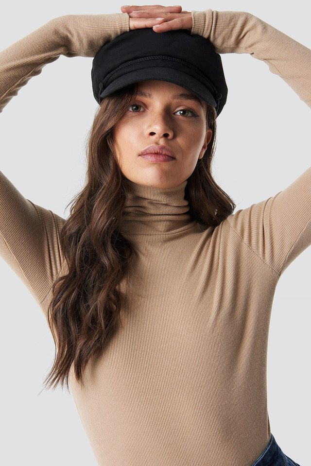 Ribbed Polo Long Sleeve Top Light Beige