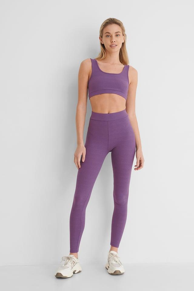 Collants Côtelés Doux Taille Haute Violet