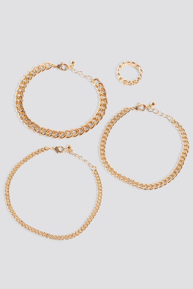 Lot Bague Et Bracelets En Chaîne Gold