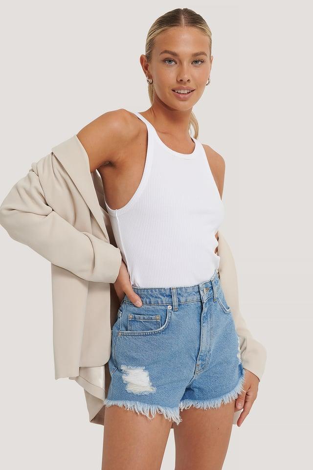 Light Blue Short En Jean