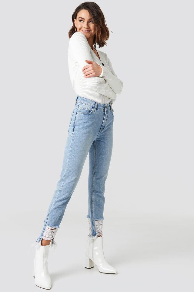Light Blue Ripped Hem Jeans
