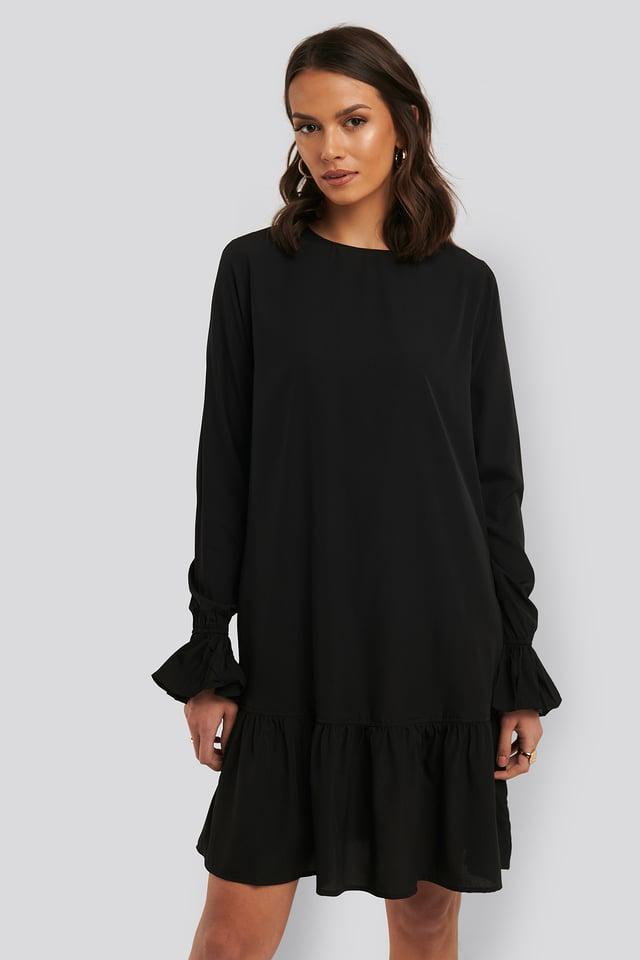 Round Neck Flounce Mini Dress Black