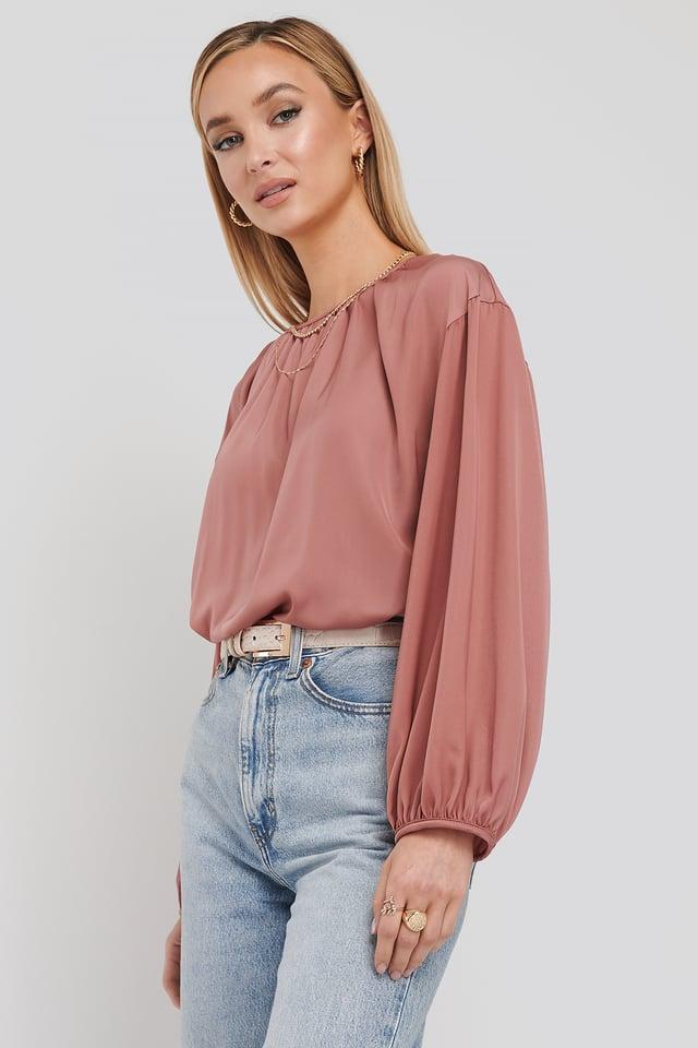 Round Neck Peasant Blouse Dark Pink