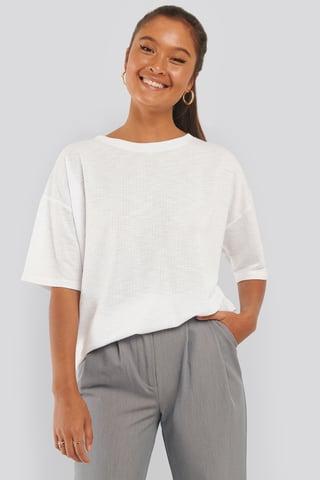 White Tee-Shirt Côtelé À Col Rond