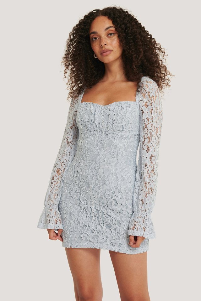 Dusty Light blue Mini Robe En Dentelle Froncée