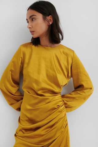 Yellow Ruched Satin Dress
