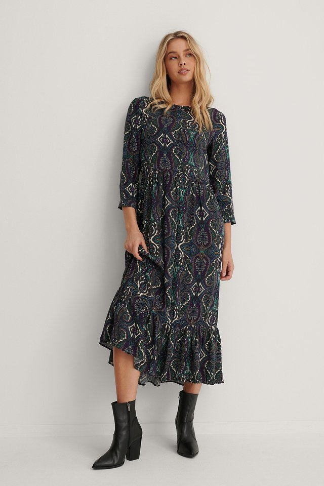 Ruffle Hem Round Neck Midi Dress Paisley Print