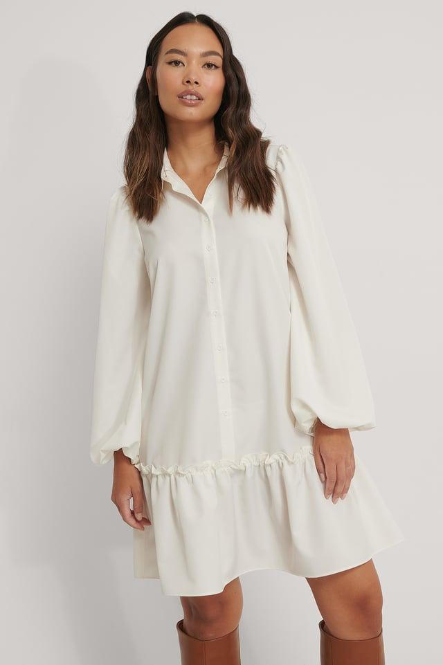 Robe Mi-Longue À Col Rond Et Ourlet À Volants White