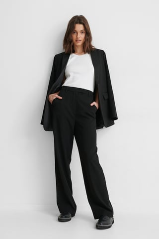 Black Pantalon De Costume En Satin