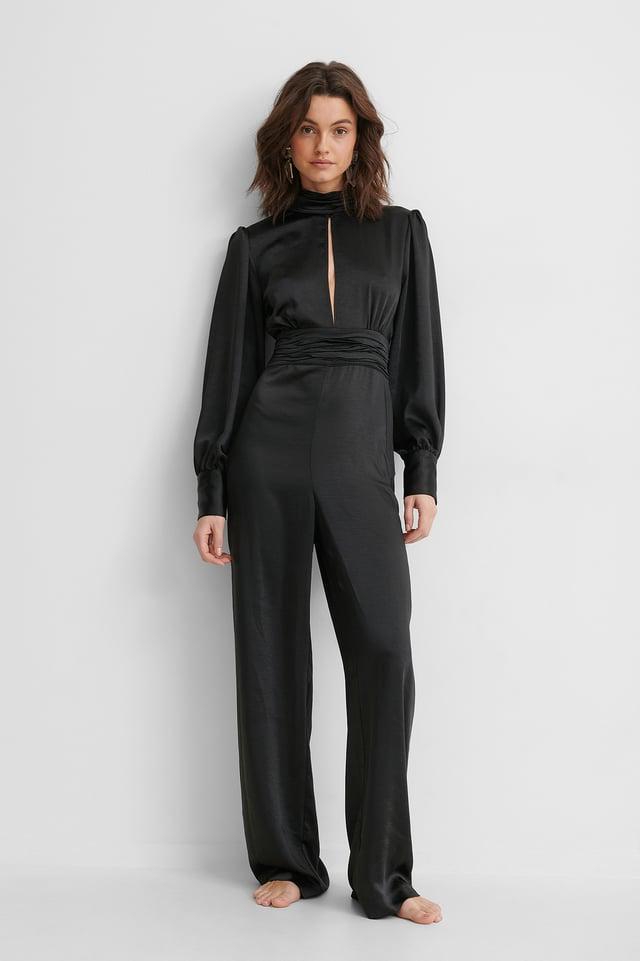 Combinaison Pantalon Satin Black