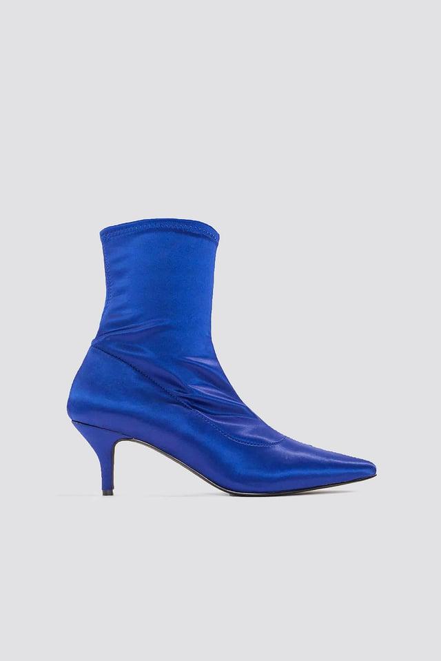 Satin Kitten Heel Sock Boots Cobalt