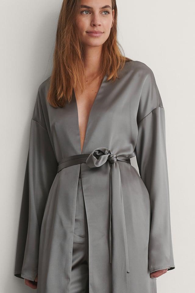 Grey Robe De Chambre Satin