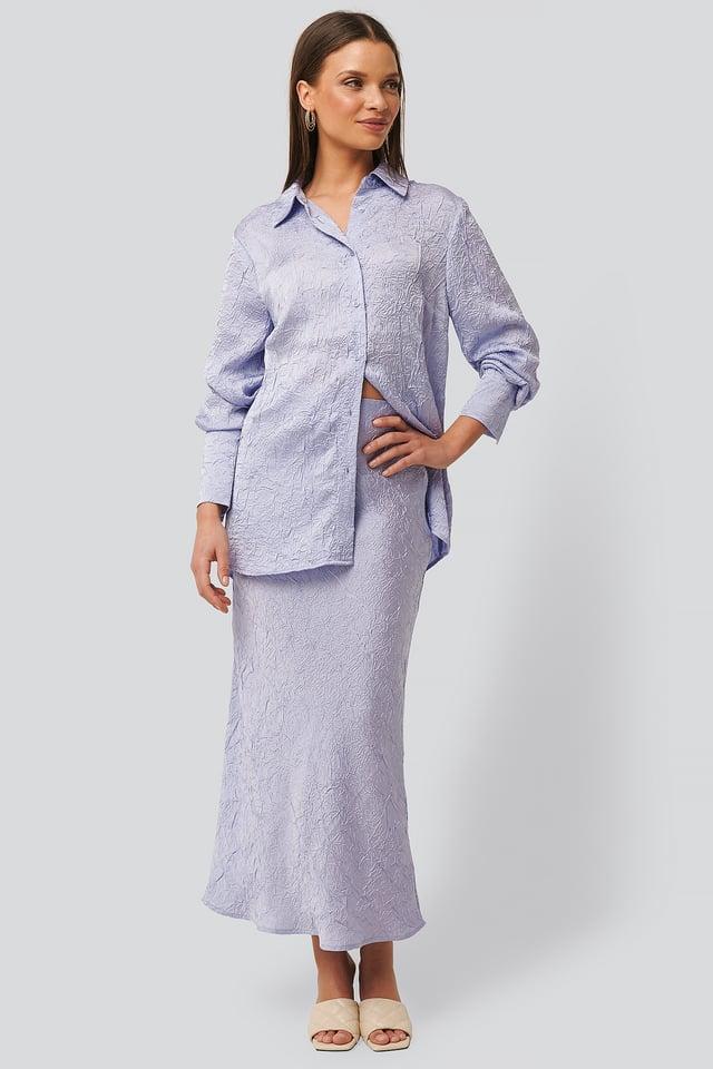 Lilac Satin Wrinkle Skirt