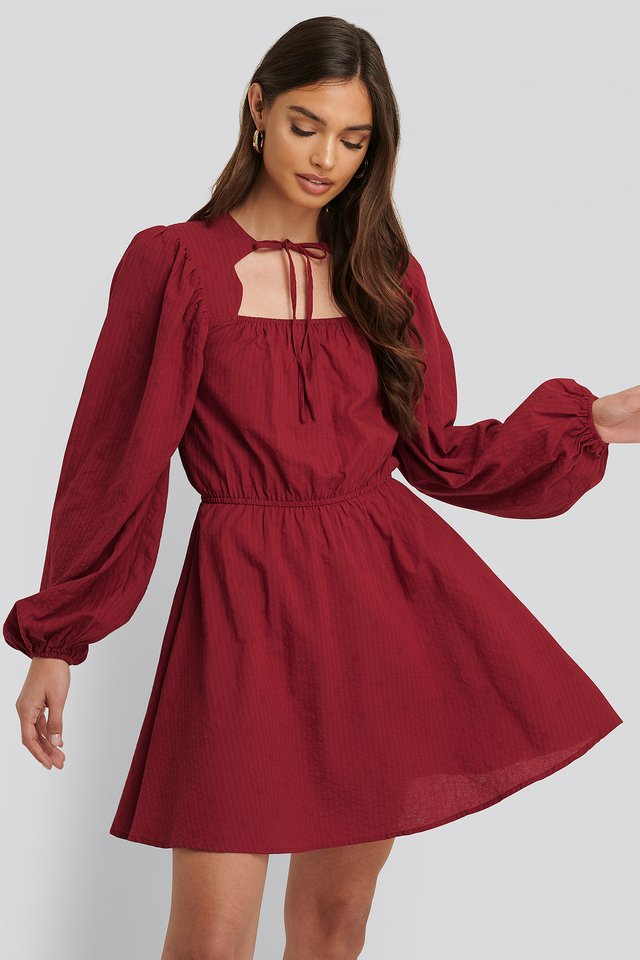 Scalloped Neckline Mini Dress Dark Red