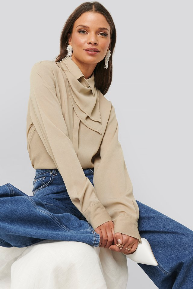 Beige Scarf Detailed Blouse