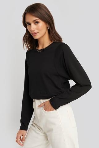 Black Seam Detail Long Sleeve T-shirt