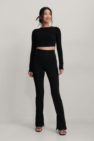 Black Pantalon À Fentes Avec Coutures