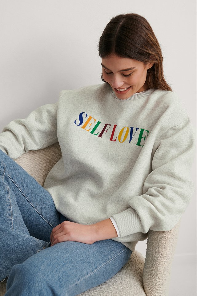 Grey Melange Biologique Sweatshirt Imprimé Self Love Broderie