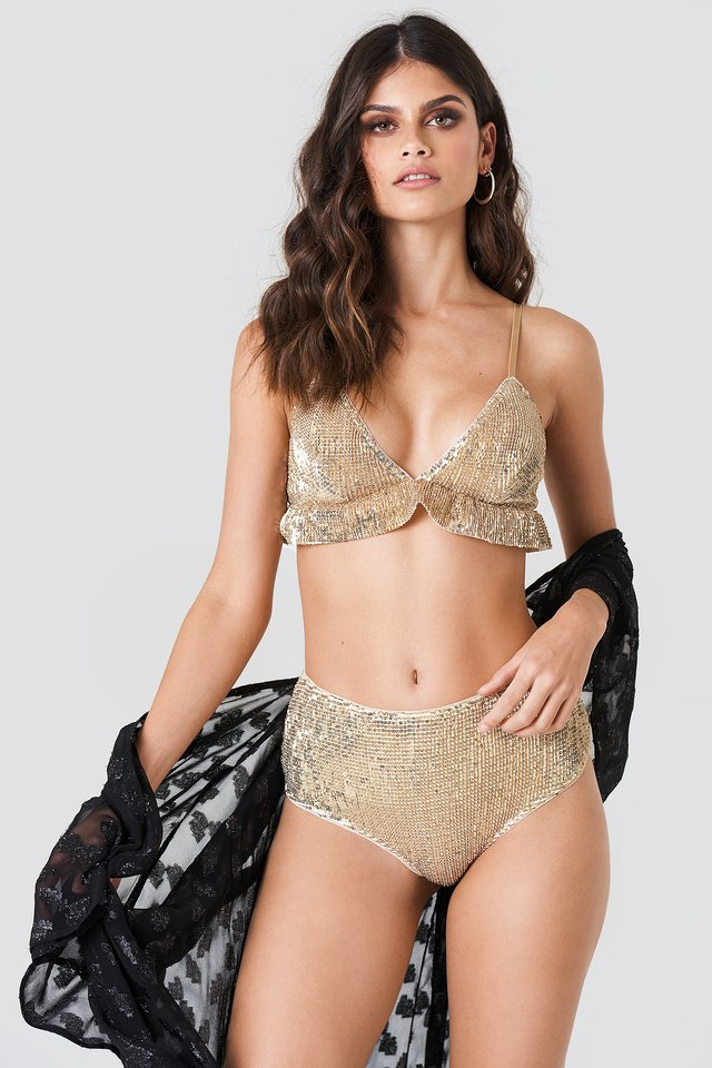 Light Gold Sequins High Waist Bottom