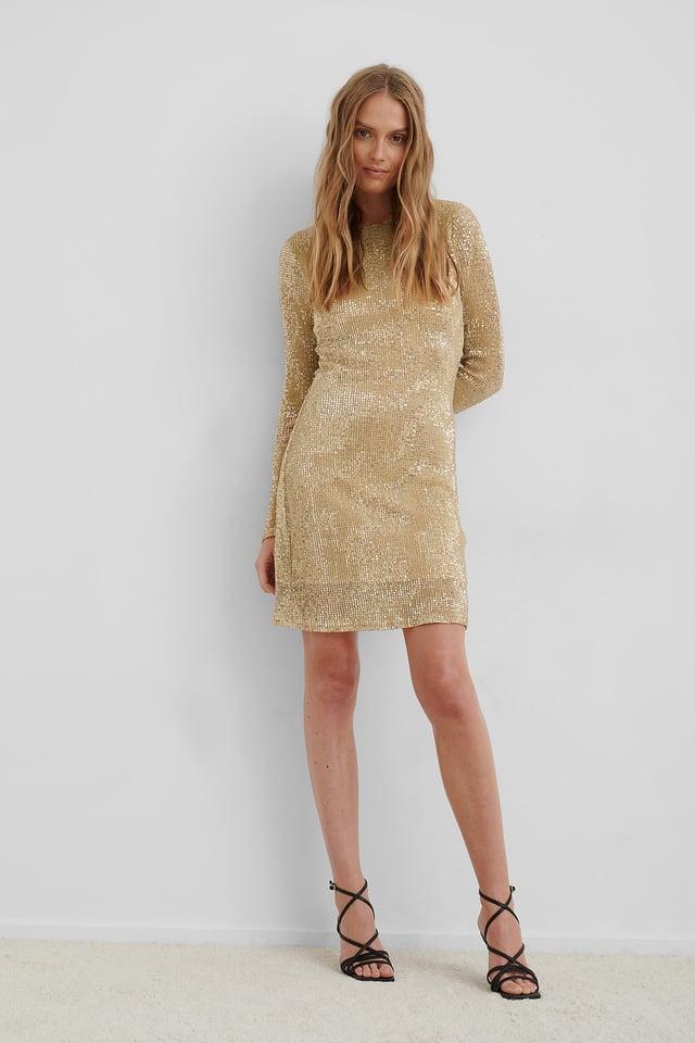 Sequin Round Neck Mini Dress Gold