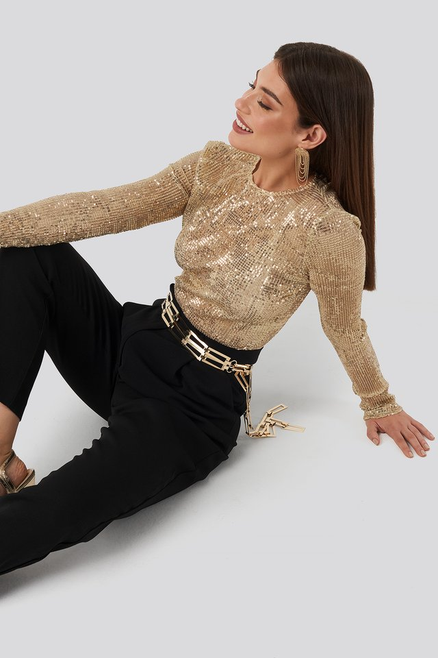 Gold Sequin Round Neck Top