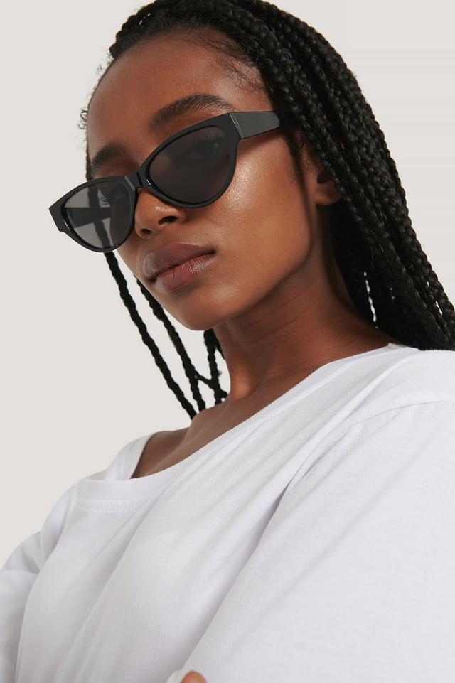 Black Drop Shaped Cateye Sunglasses