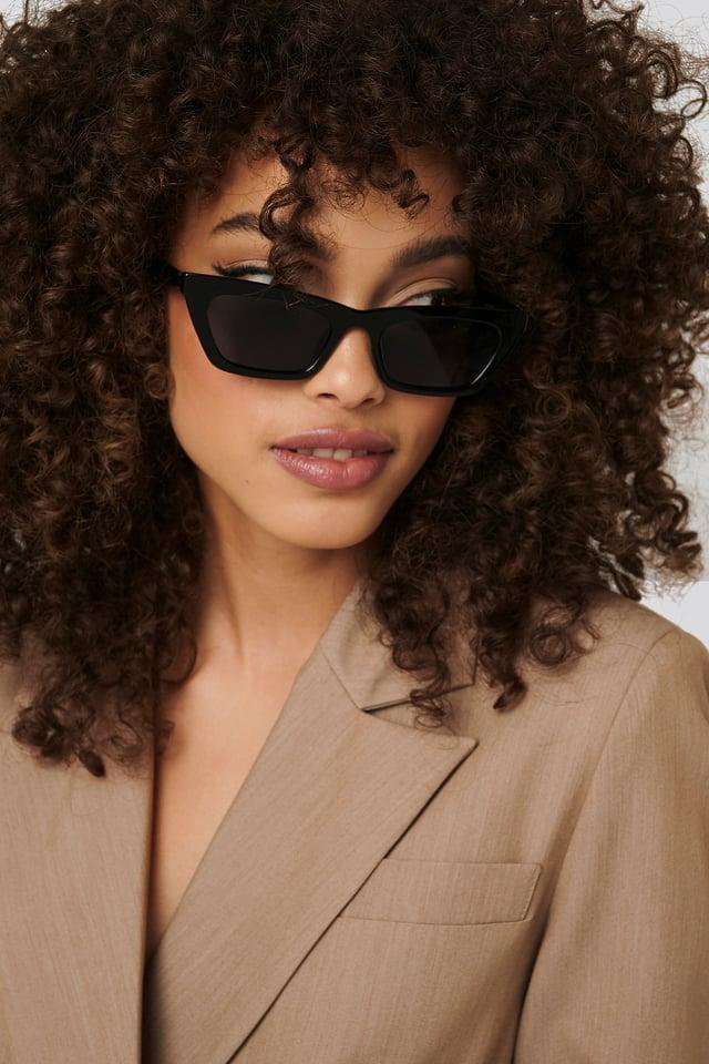Black Sharp Edge Slim Sunglasses