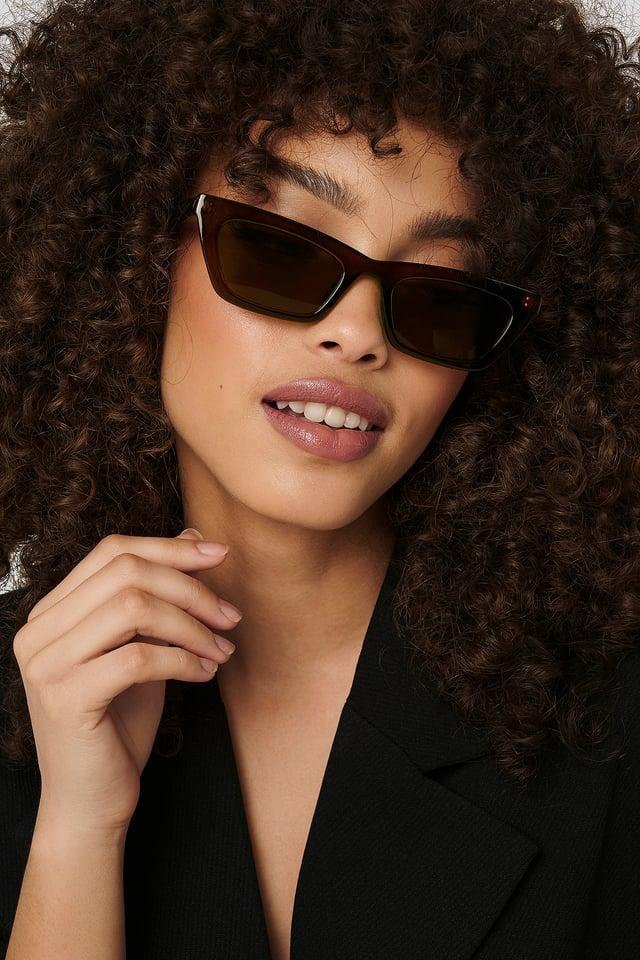 Brown Sharp Edge Slim Sunglasses