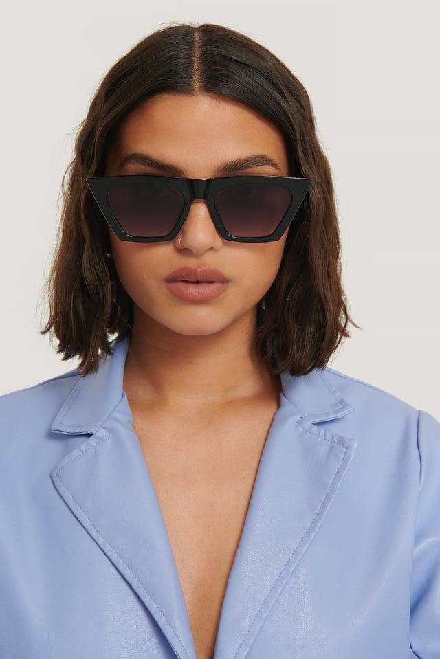 Black Sharp Square Cateye Sunglasses