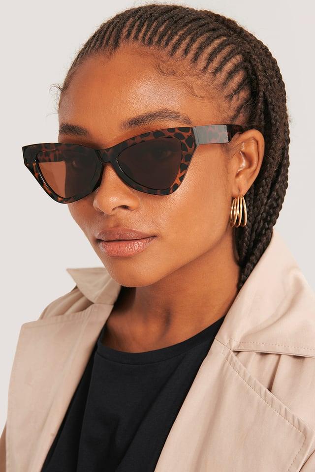 Sharp Triangular Cateye Sunglasses Tortois