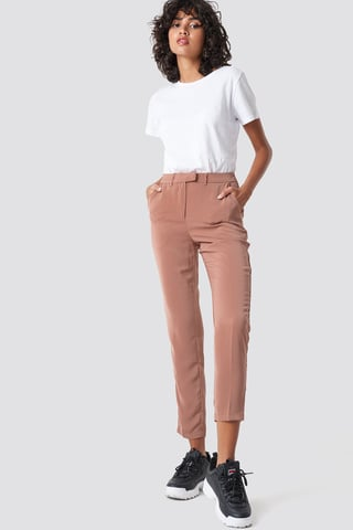 Dusty Dark Pink Shiny Suit Pants