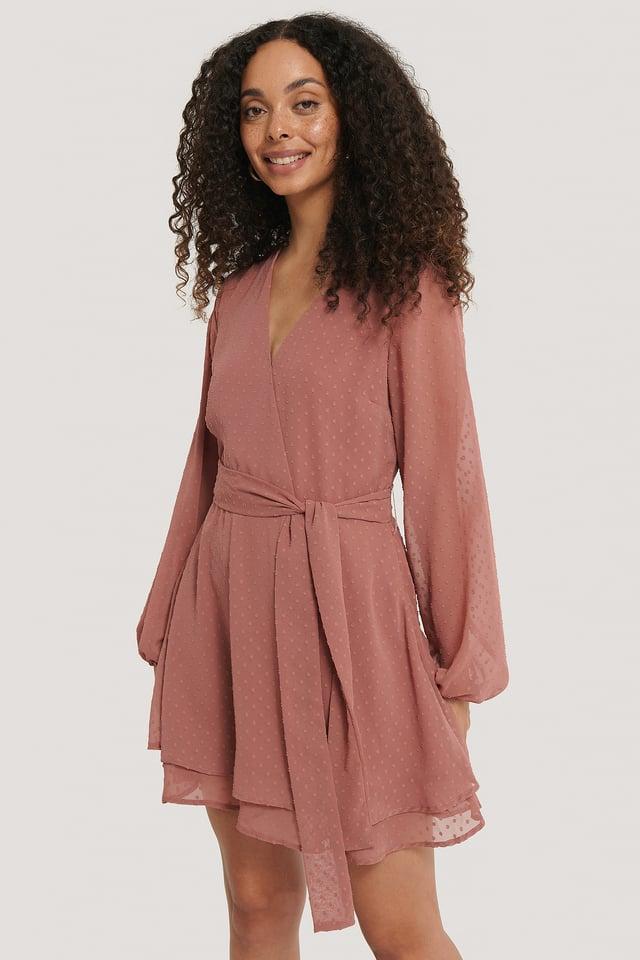 Robe En Dobby À Superpositions Et À Fronces Dark Pink