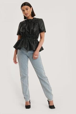 Black Shirred PU Top