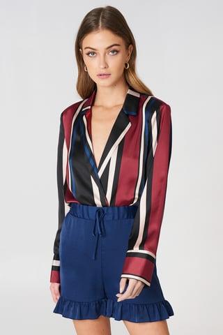 Dark Blue Shirred Waist Frill Shorts