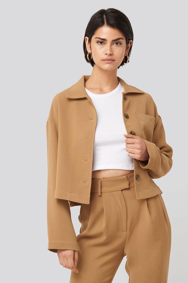 Beige Short Pocket Overshirt