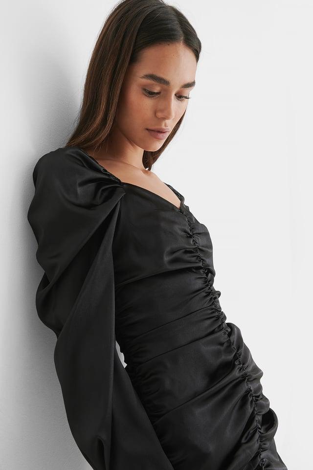 Robe Mini À Fronces Black