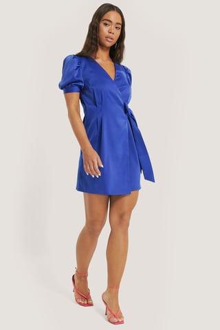 Blue Robe Mini À Manches Bouffantes Courtes